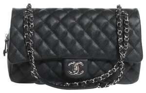 Chanel Caviar Easy Caviar Jumbo Silver Shoulder Bag