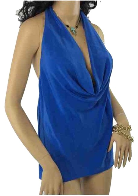Item - Royal Blue Plunging Back Sexy Silk Halter Top Size 8 (M)