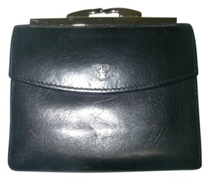"Bosca Bosca Old Leather 4"" Black French Purse Wallet Kiss Lock Bifold with Change/Coin Purse"