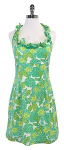 Lilly Pulitzer short dress Green Yellow Floral Cotton on Tradesy