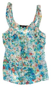 Nanette Lepore Multi Color Silk Ruffly Top