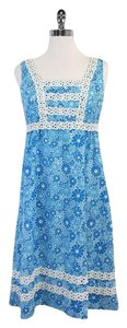 Lilly Pulitzer short dress Blue White Floral Sleeveless on Tradesy