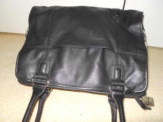 Tignanello Leather Satchel Tote in black with animal print sides