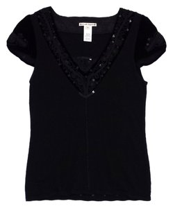 Nanette Lepore Black Wool Velvet Short Sleeve Sweater