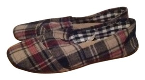 Wet Seal Plaid Flannel Espadrilles Black, Red and Tan Flats