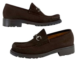 Gucci Brown Suede Loafers Formal
