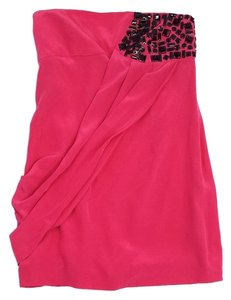 Tibi short dress Pink Silk Beaded Strapless on Tradesy