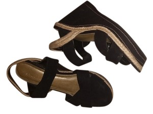 Studio Paolo Black with Tan accents Wedges
