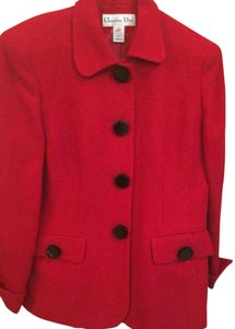 Dior RED CHRISTIAN DIOR SIZE 10 SKIRT SUIT