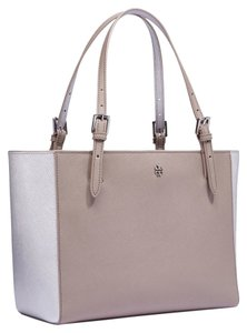 Tory Burch Satchel in French Gray Metallic Silver