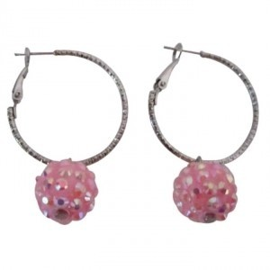 Silver Pink Pave Ball Hoop Low-priced Under Earrings
