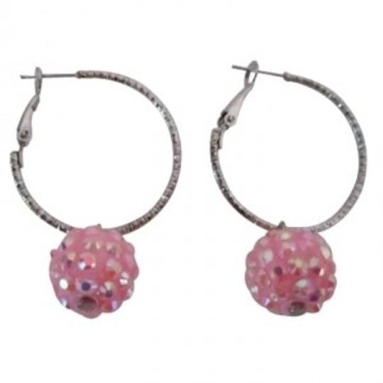 Preload https://item1.tradesy.com/images/silver-pink-pave-ball-hoop-low-priced-under-earrings-149145-0-0.jpg?width=440&height=440