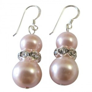 Pink Sterling Silver Rose Pearls Diamante Spacer Earrings