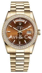 Rolex Rolex Day-Date 36 18K Yellow Gold Watch Diamond Bezel Cognac Dial 118348