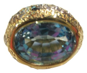 Hammerman Brothers VINTAGE HAMMERMAN BROTHERS 18KT YELLOW GOLD DIAMOND BLUE TOPAZ RING