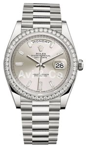 Rolex Rolex Day-Date 40 18K White Gold Watch Diamond Dial & Bezel 228349