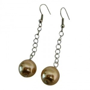 Brown Single Pearls Champagne Color Dangling Earrings