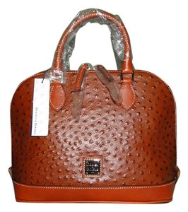 Dooney & Bourke Ostrich Embossed Satchel in Cognac
