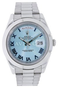 Rolex Rolex Day-Date II Platinum Watch Ice Blue Dial 218206