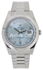 Rolex Rolex Day-Date II Platinum Watch Ice Blue Diamond Dial 218206