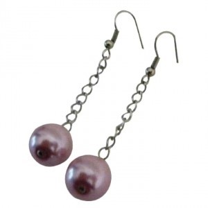 Pink Elegant Rose Chain Style Single Pearls Earrings