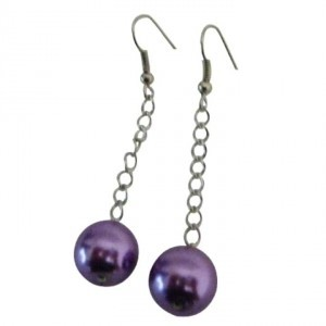 Purple Decent Singel Pearls Earrings