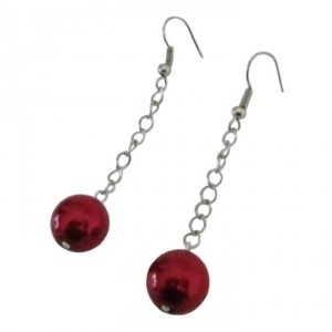 Red Valentine Christmas Striking Pearls Dangling Earrings