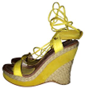 C Label High Heels Leather Ankle Strap Open Toe Sandals Yellow Wedges