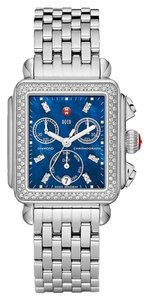 Michele NEW Authentic Michele Deco Signature Blue MOP Diamond Dial Stainless Steel MWW06P000219 Ladies Watch