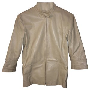 Lanvin Leather Fitted Designer Cream Leather Jacket