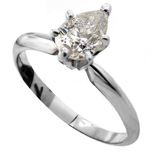 ABC Jewelry Pear Shaped Diamond Solitaire Ring