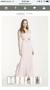 David's Bridal Petal Pink F15530 Petal Pink Sleeveless Chiffon Long Dress With Ruffled Back Detail F15530 Dress