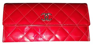 Chanel Chanel Red Quilted Patent Leather CC Wallet