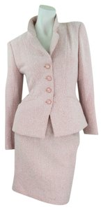 Emanuel Ungaro Emanuel Ungaro Woman Designer Salmon Tweed 2-piece Skirt-Suit European Size 8