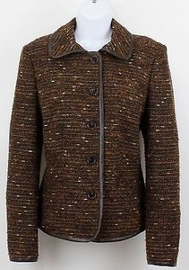 Ellen Tracy Ellen Tracy Temu5066 Brown Multi Tweed Faux Leather Trimmed Blazer B89
