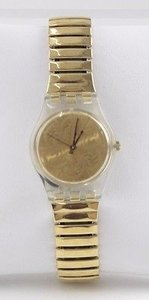 Swatch Swatch Stretch Goldtone Swirl Face Clear Case Back Wristwatch Bj16