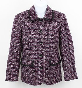 Appleseed's Appleseeds 4p Magenta Black Multi Tweed Trim Details 4-button Blazer B89