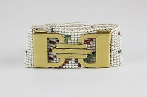 Other Yellow Multi Full Beaded 28.5 White Gold Multi Stretch Belt B316