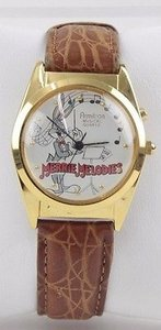 Armitron Looney Tunes Armitron 6-7.5 Gold Leather Embossed Bugs Bunny Watch W Box Bj16