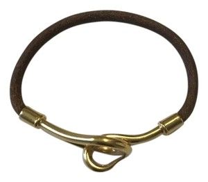 Hermès Gold 18k Jumbo Hook Leather Bracelet