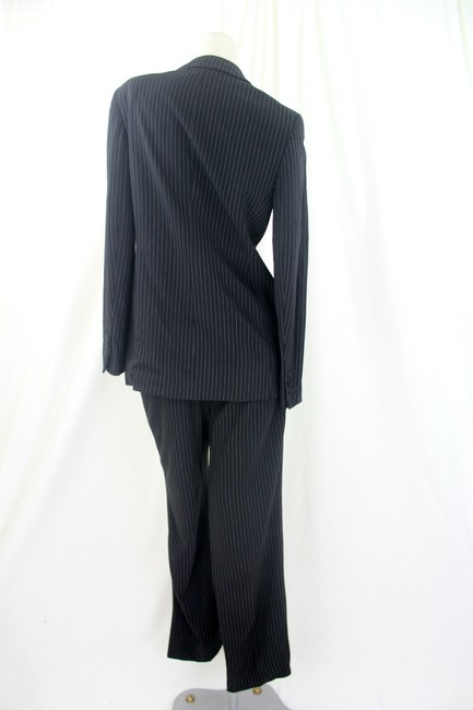 Calvin Klein Calvin Klein For Holt Renfrew Black Wool Pin Striped Pantsuit USA Size 4