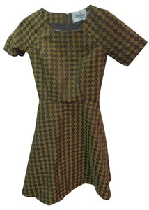Anthropologie short dress gold and brown Anthroologie Houndstooth on Tradesy