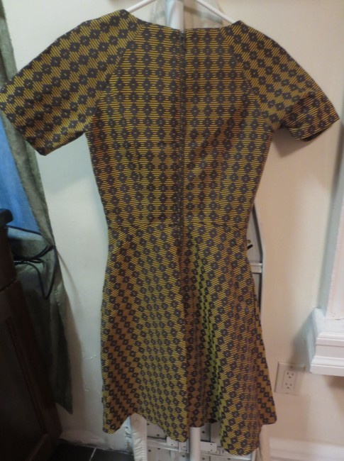 Anthropologie short dress gold and brown Houndstooth Ruby Belle Swing Fit Flare on Tradesy