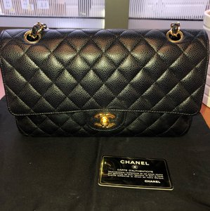b91773cbb7b725 Chanel Classic Flap Medium Double Gold Hardware Black Caviar Leather ...