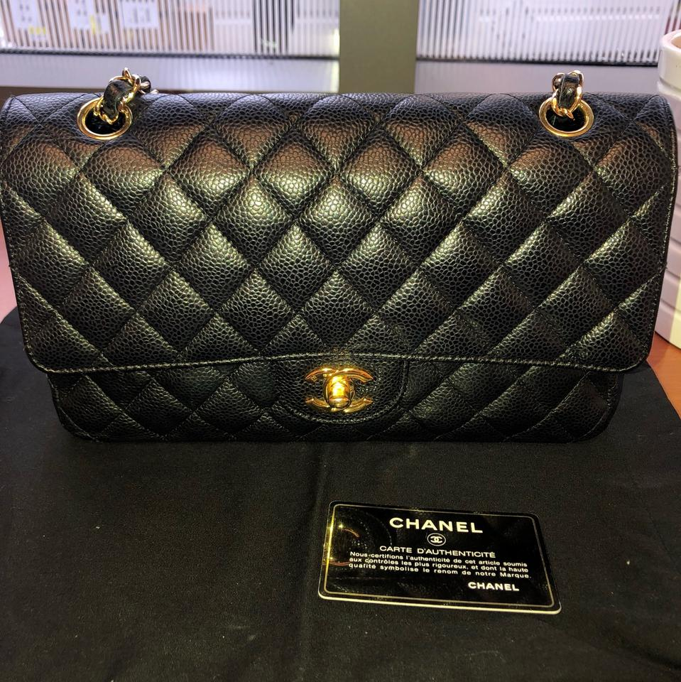 777cc7a58492 Chanel Classic Flap Medium Double Gold Hardware Black Caviar Leather Clutch