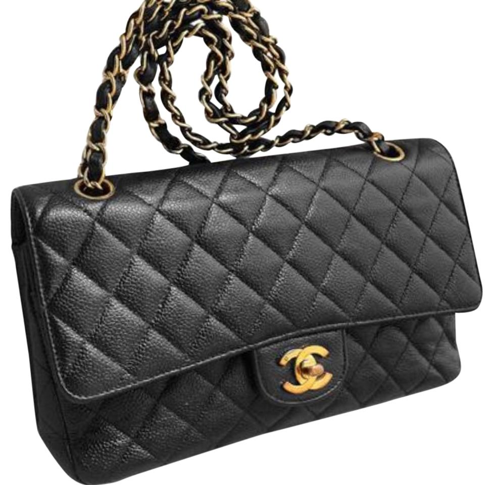 Chanel Caviar Leather Medium Flap Gold Hardware Black Clutch