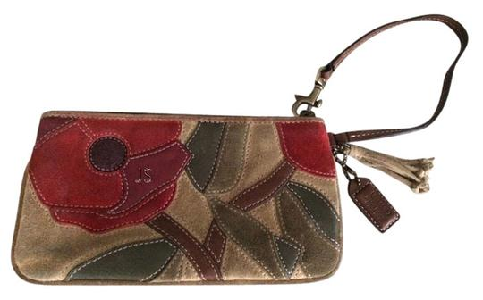 Coach Wristlet in Beige background with red poppies