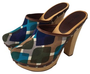 Miu Miu Multicolor shades of blue, green, brown and gray Mules
