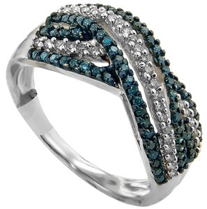 ABC Jewelry 3/8 ct. Blue/White Diamond Band