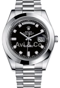 Rolex Rolex Day-Date II Platinum Watch Black Diamond Dial 218206